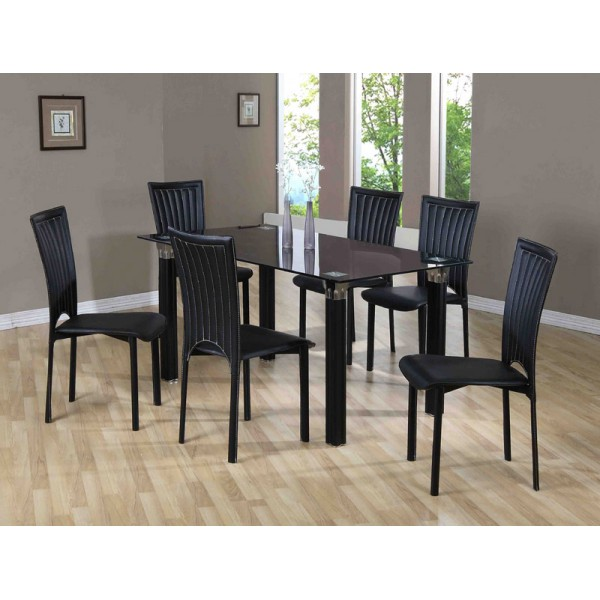 Wholesale Furniture Store ZAMBIA RECTANGLE DINING TABLE 6 CHAIRS