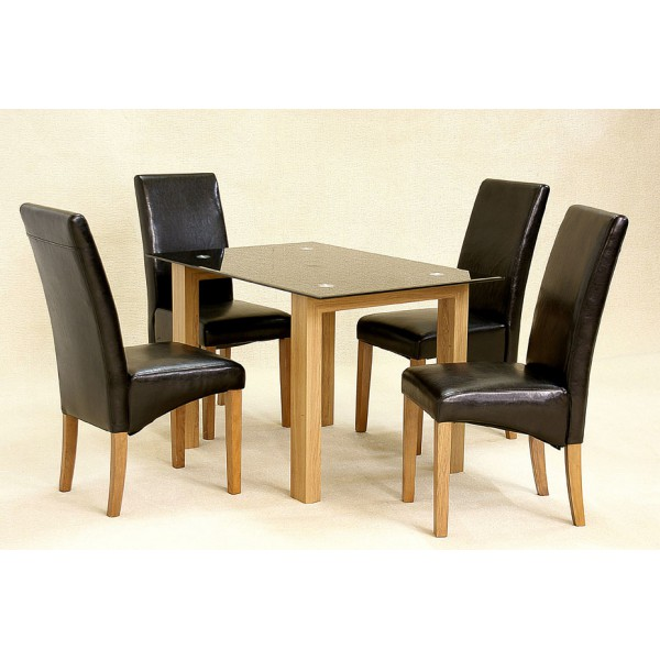 Furniture Store ADINA SMALL BLACK GLASS DINING TABLE 4 CHAIRS